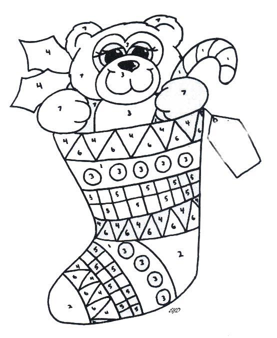 xmas colour by numbers Colouring Pages (page 3)